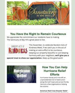 Sanctuary at Bay Hill eNewsletter - November/December 2017